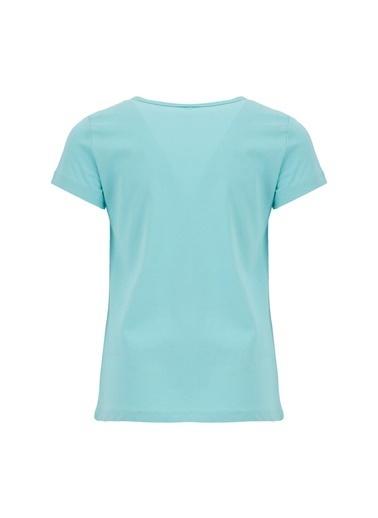DeFacto Kız Çocuk Unicorn Baskılı Kısa Kol T-shirt Turkuaz